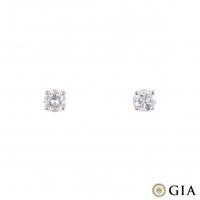 White Gold Diamond Stud Earrings 1.01ct TDW